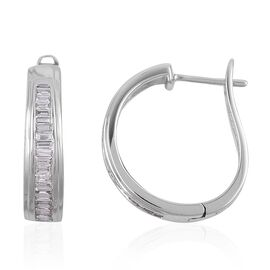 ILIANA 18K White Gold IGI Certified Diamond (Bgt) (SI/G-H) Hoop Earrings (with Clasp) 0.500 Ct.