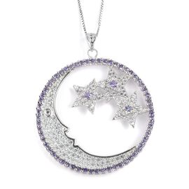 GP Tanzanite (Rnd), Natural White Cambodian Zircon and Madagascar Blue Sapphire Moon and Star Pendant with Chain in Rhodium Plated Sterling Silver 2.610 Ct. Silver wt 7.51 Gms. Number of Gemstone 194