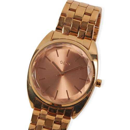OASIS Rose Gold Dial Bracelet Watch in Rose Gold Tone and Strap with Faceted Lense