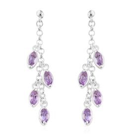 Rose De France Amethyst (Mrq) Dangle Earrings (with Push Back) in Sterling Silver 2.000 Ct. Silver wt 4.42 Gms.