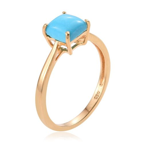 Arizona Sleeping Beauty Turquoise (Sqr) Solitaire Ring in 14K Gold Overlay Sterling Silver 1.000 Ct.