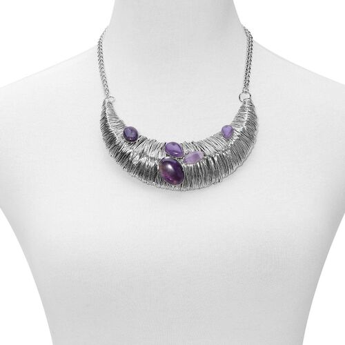 Amethyst and White Austrian Crystal Necklace (Size 18 with 2 inch Extender) in Silver Tone