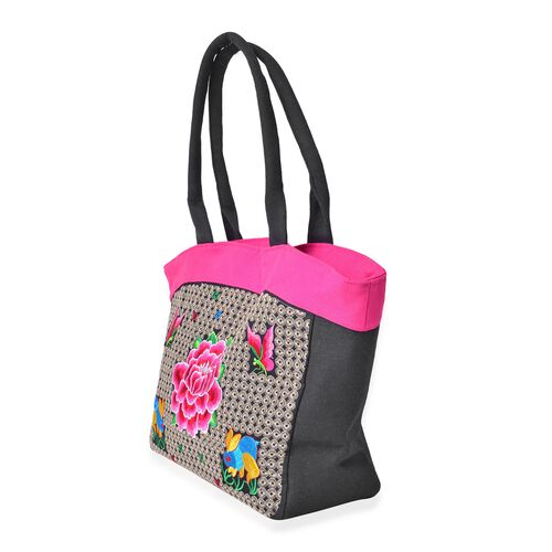 SHANGHAI COLLECTION Multi Colour Floral and Rabbit Embroidered Tote Bag with External Zipper Pocket (Size 50X30X15 Cm)
