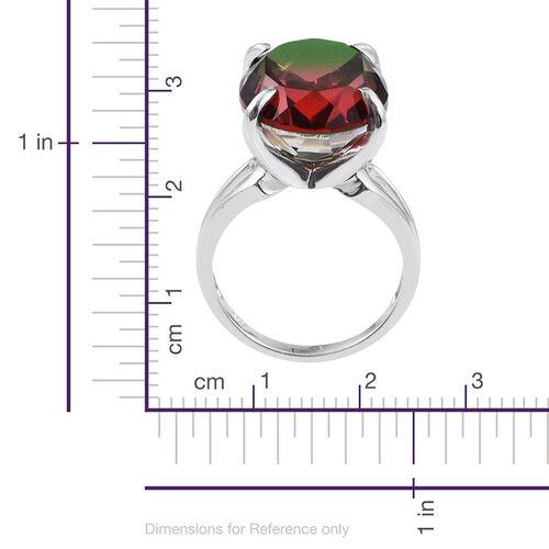 Bi-Color Tourmaline Quartz (Ovl) Ring in Platinum Overlay Sterling Silver 19.000 Ct.