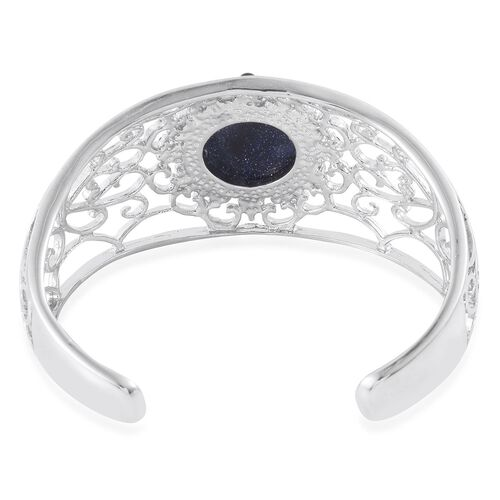 Blue Sandstone Cuff Bangle (Size 7.5) in Silver Tone 25.000 Ct.