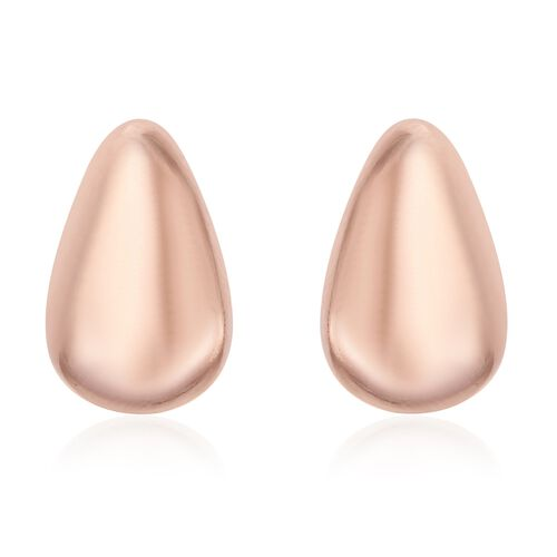 Pear Stud Earrings (with Push Back) in Rose Plated Silver