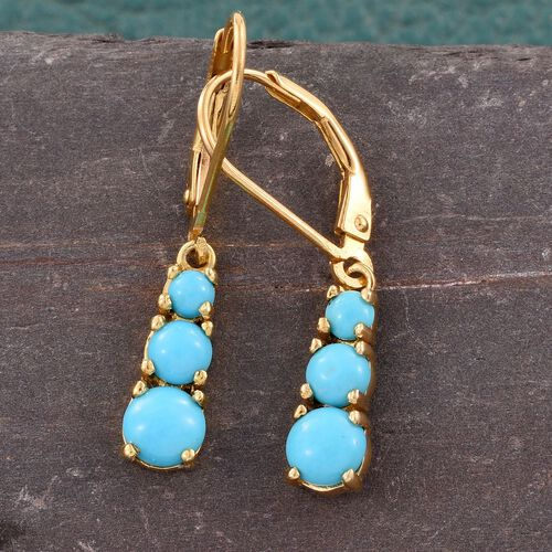 Arizona Sleeping Beauty Turquoise (Rnd) Lever Back Earrings in 14K Gold Overlay Sterling Silver 1.500 Ct.