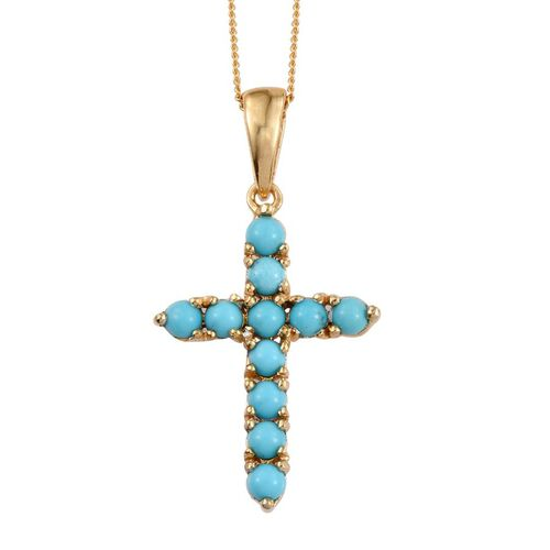 Arizona Sleeping Beauty Turquoise (Rnd) Cross Pendant with Chain in 14K Gold Overlay Sterling Silver 1.000 Ct.