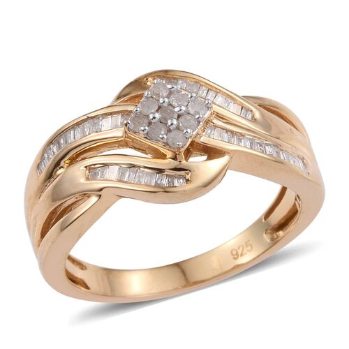 Diamond (Rnd) Ring in 14K Gold Overlay Sterling Silver 0.330 Ct.