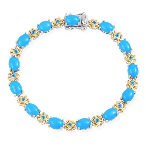 Arizona Sleeping Beauty Turquoise (Ovl), Malgache Neon Apatite Bracelet (Size 7.75) in Rhodium and Yellow Gold Overlay Sterling Silver 12.330 Ct. Silver wt 10.82 Gms.