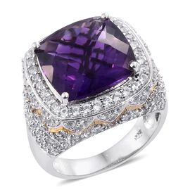 AAAA Lusaka Amethyst (Cush 10.20 Ct), Natural Cambodian Zircon Ring in Platinum Overlay Sterling Silver 12.750 Ct. Silver wt 8.60 Gms. Number of Gemstone 181