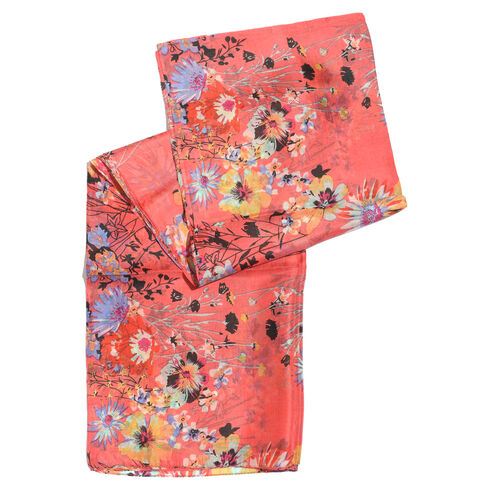 100% Mulberry Silk Pink, Yellow, White and Multi Colour Floral Pattern Scarf (Size 180x100 Cm)