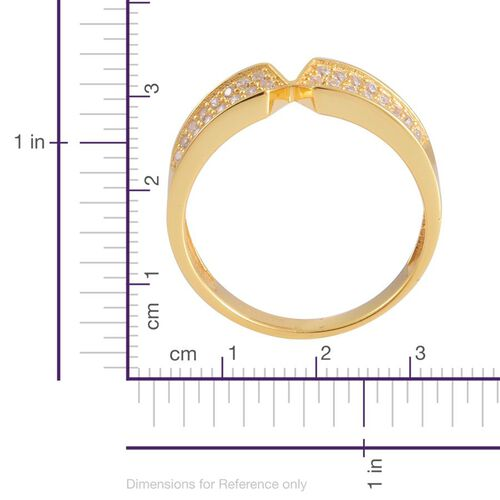 AAA Simulated White Diamond Ring in 14K Yellow Gold Overlay Sterling Silver