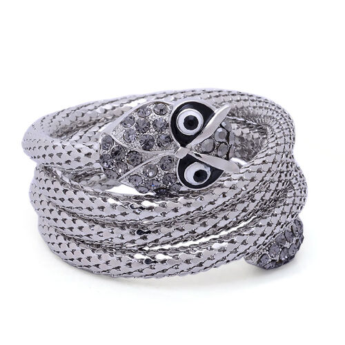 Black, Grey and Purple Austrian Crystal Enameled Owl Arm Wraps in Silver Tone