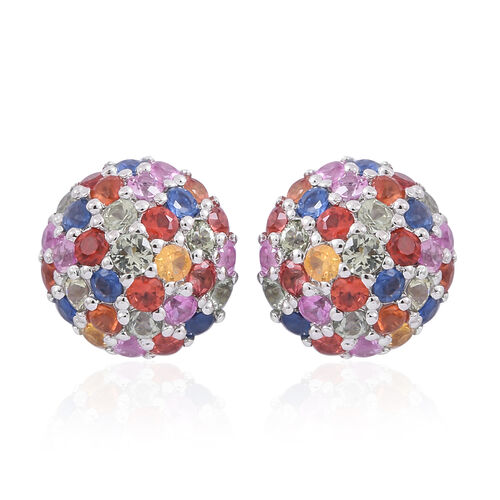 Only 31 Ever Made - Rainbow Sapphire (Rnd) Stud Earrings (with Push Back) in Rhodium Plated Sterling Silver 5.250 Ct.