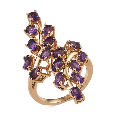 AA Lusaka Amethyst (Ovl) Leaves Crossover Ring in 14K Gold Overlay Sterling Silver 3.750 Ct.