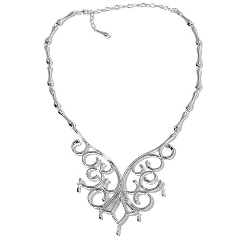 LucyQ Air Drip Necklace (18 with 4 inch Extender) in Rhodium Plated Sterling Silver 82.99 Gms.