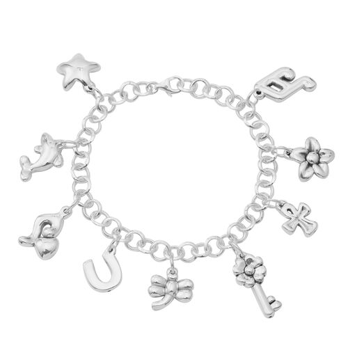 Designer Inspired-Sterling Silver Star, Flower and Multi Charm Bracelet (Size 7 with Half inch Extender), Silver wt 20.40 Gms.