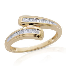 Web Exclusive- 9K Y Gold SGL Certified Diamond (Bgt) (I3/G-H) Crossover Ring 0.200 Ct.