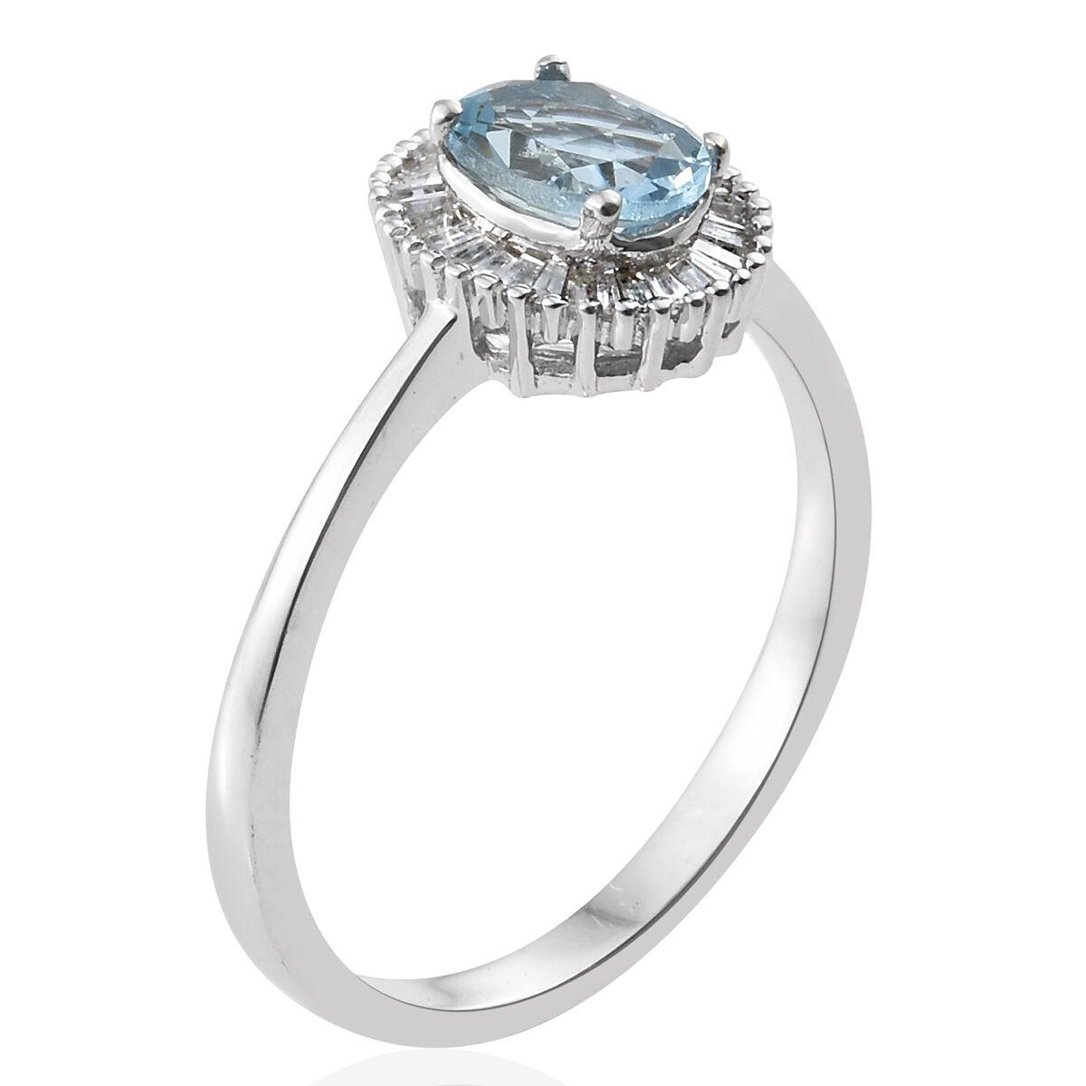 9K White Gold AA Santa Maria Aquamarine, Diamond Ring 1.000 Ct.