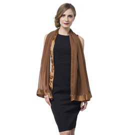 End Of Season Deall -100% Mulberry Silk Chocolate Colour Scarf with Satin Border (Size 160X60 Cm)