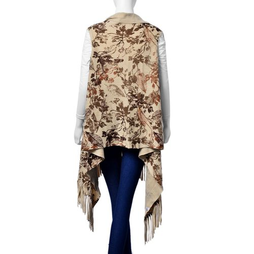 Chocolate and Multi Colour Leaves Pattern Poncho with Tassels (One Size for All)