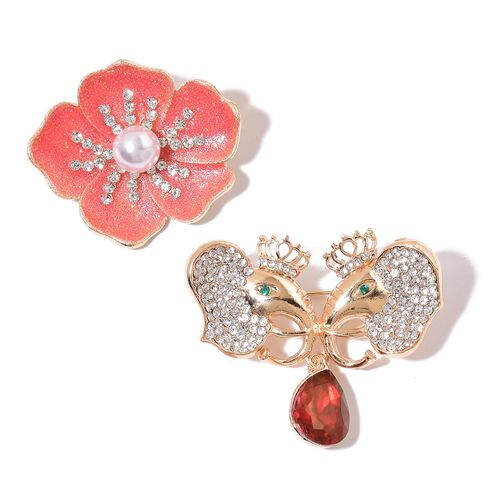 Set of 2 - Simulated White Pearl, Simulated Ruby, White and Green Austrian Crystal Enameled Elephant Head and Floral Brooch in Yellow Gold Tone