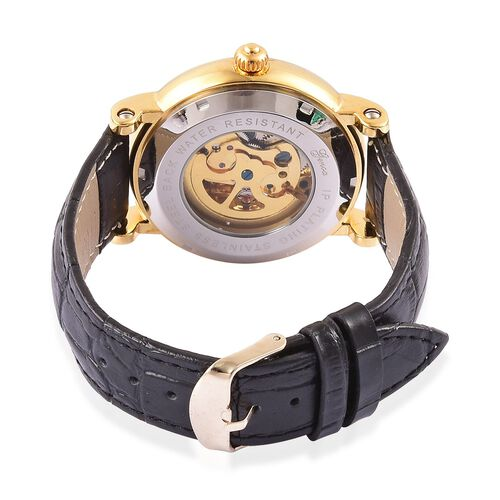 GENOA Automatic Skeleton Blue Dial Water Resistant Watch in Gold Tone with Black Colour Strap
