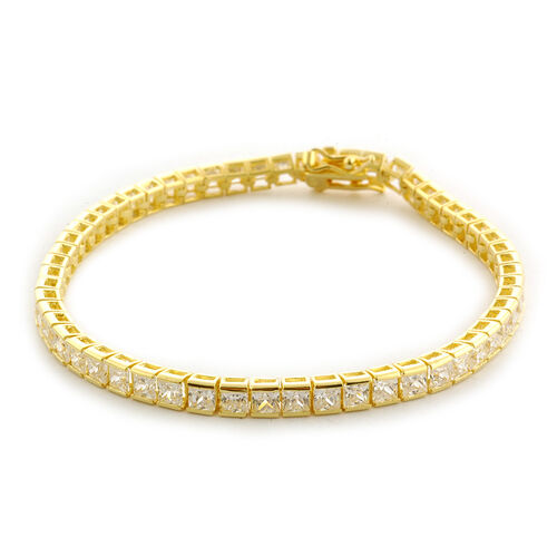 Simulated White Diamond (AAA) Bracelet in 14K Gold Overlay Sterling Silver (Size 7.25)  2.160  Ct.