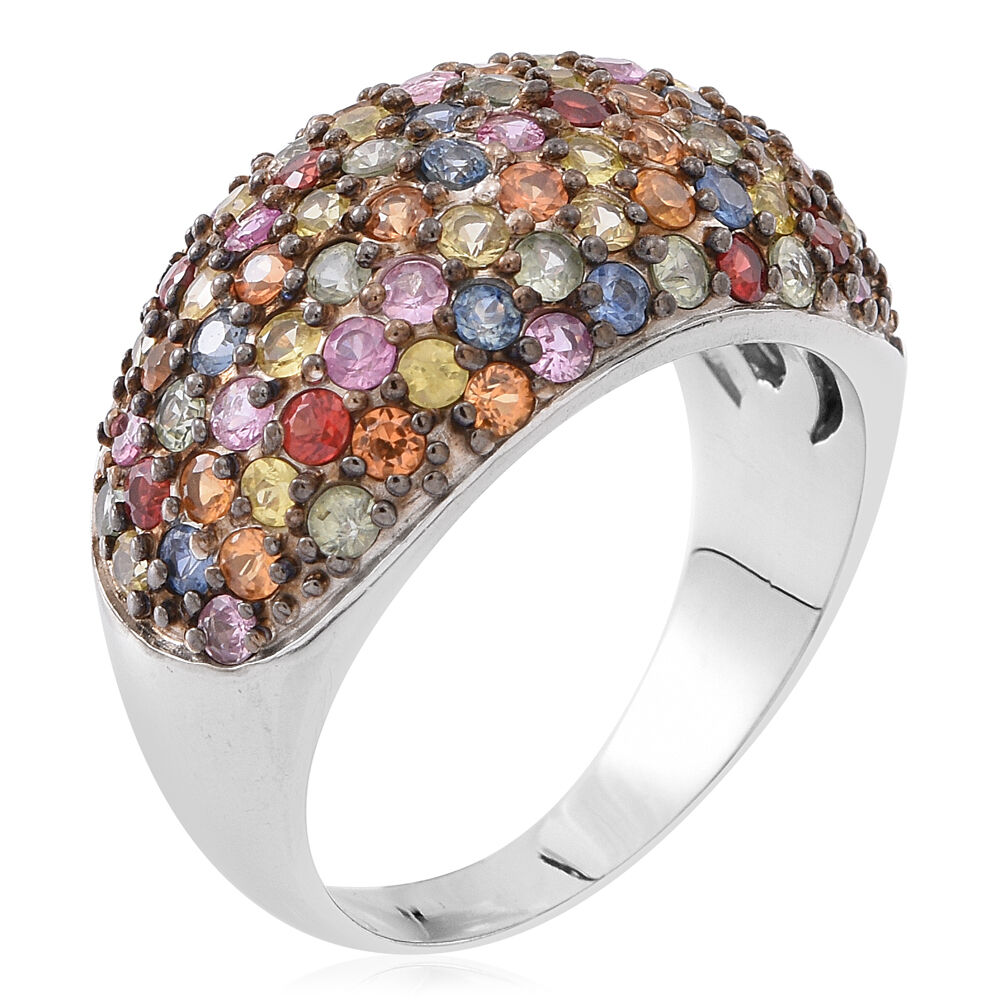AAA Rainbow Sapphire Ring in Rhodium Plated Silver 4.750 Ct. pvD3h47GJA