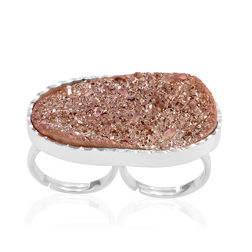 Drusy Quartz Ring in Base Metal