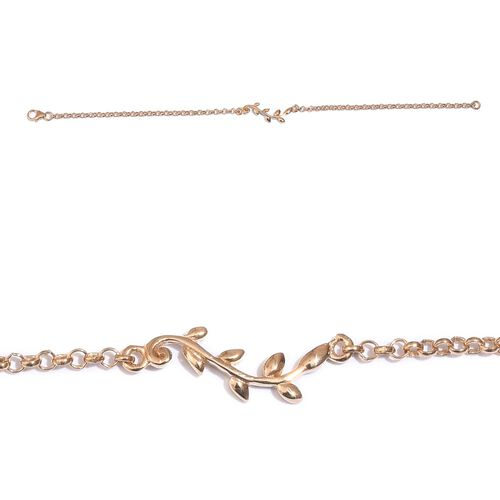 14K Gold Overlay Sterling Silver Leaves Bracelet (Size 7.5)
