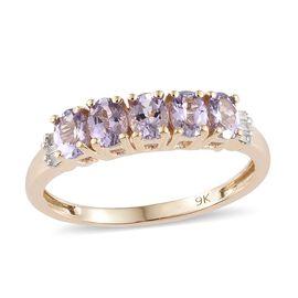 9K Yellow Gold Pink Tanzanite (Ovl) Diamond 5Stone Ring 0.850  Ct.