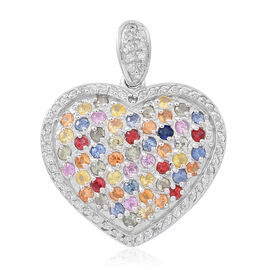 Rainbow Sapphire (Rnd)  and Natural Cambodian Zircon Heart Pendant  in Rhodium Plated Sterling Silver 3.500 Ct. No of Stones 100.