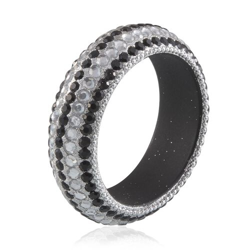 Simulated Black Spinel and Simulated White Diamond Bangle (Size 65 MM)