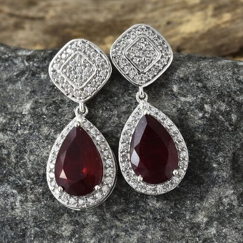 9.75 Ct African Ruby and Natural Cambodian Zircon Earrings in Platinum Plated Silver 5.32 gms (with Push Back) Number of Gemstone 108