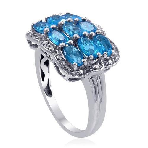 Malgache Neon Apatite (Ovl 2.00 Ct), Diamond Ring in Platinum Overlay Sterling Silver 2.020 Ct.