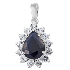 Limited Edition- Kanchanaburi Blue Sapphire (Pear 2.75 Ct), Natural Cambodian White Zircon Pendant in Sterling Silver 4.000 Ct.