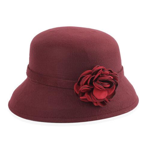 Designer Inspired-Wine Red Colour Flower Adorned Hat (Size 16 Cm)