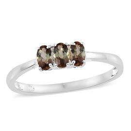 Epic Day Deal-Very Rare Itinga Andalusite (Ovl) Trilogy Ring in Sterling Silver