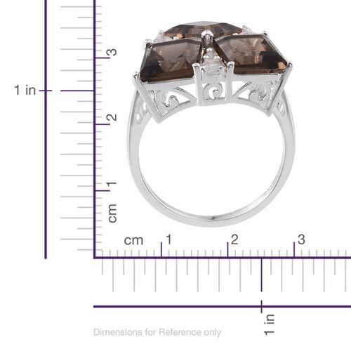 Brazilian Smoky Quartz (Sqr), White Topaz Ring in Sterling Silver 7.500 Ct.
