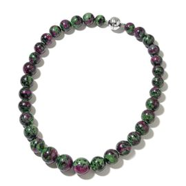 Collectors Edition- Extremely Rare 100% Natural AAA Ruby Zoisite (10mm to 16mm) Necklace (Size 18) with Magnetic Clasp in Rhodium Plated Sterling Silver 640.000 Ct.