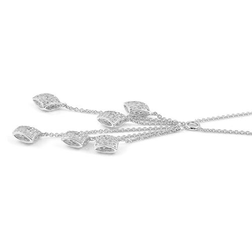 RACHEL GALLEY Rhodium Plated Sterling Silver Memento Diamond Necklace (Size 18), Silver wt. 12.69 Gms.