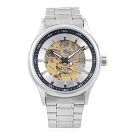 GENOA Automatic Skeleton Silver and Black Dial Water Resistant Watch in Silver Tone with Glass Back and Chain Strap
