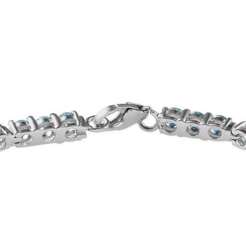 Signity Paraiba Topaz (Rnd) Bracelet in Platinum Overlay Sterling Silver (Size 7.5) 7.000 Ct.