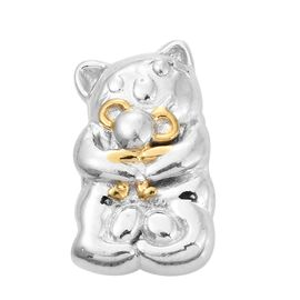 Smiling Cat Hugging Mouse Charm in Platinum and Gold Plated Silver