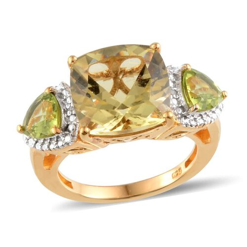 Brazilian Green Gold Quartz (Cush 6.25 Ct), Hebei Peridot and Diamond Ring in 14K Gold Overlay Sterling Silver 8.010 Ct.
