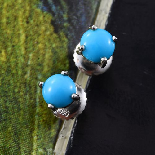 RHAPSODY 950 Platinum AAAA Arizona Sleeping Beauty Turquoise (Rnd) Stud Earrings (with Screw Back) 1.000 Ct.