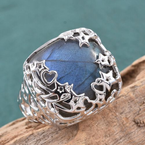 GP Labradorite (Cush 26.98 Ct), Kanchanaburi Blue Sapphire Ring in Platinum Overlay Sterling Silver 27.000 Ct.