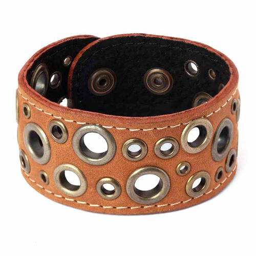 Brown Leather Bangle with Brasstone Circles
